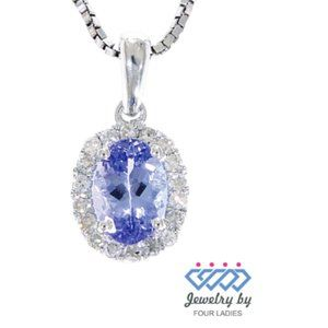 Halo Diamond Oval Tanzanite Pendant